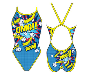 Women Swim Suit - Revolution Thin Straps - Popstar OMG (Print)