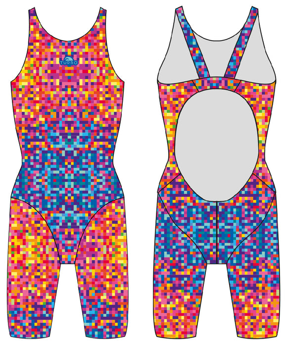 Girls Knee Suit - Wide Straps - Pixels (Print)