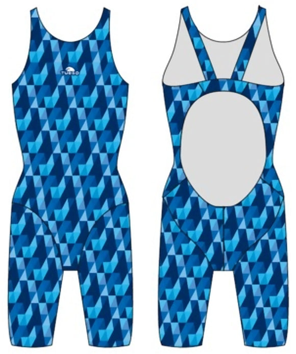 Girls Knee Suit - Wide Straps - Rain (Royal)