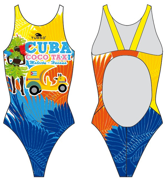Girls Swim Suit - Thick Straps - Cuba Coco Taxi (Royal)