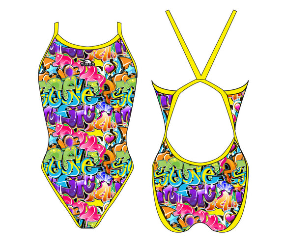 Girls Swim Suit - Revolution Thin Straps - Graffiti (Yellow)