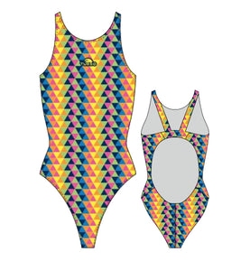 Girls Swim Suit - Wide Straps - Tridimension (Yellow)