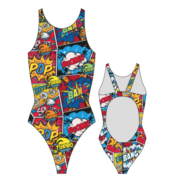 Girls Swim Suit - Wide Straps - Comic Boom (Red)