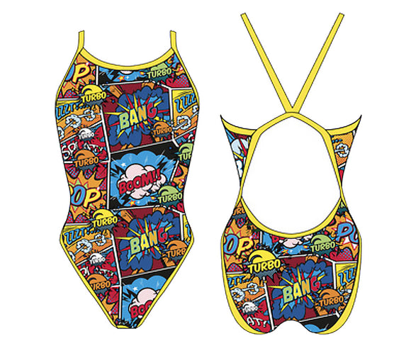 Girls Swim Suit - Revolution Thin Straps - Comic Boom (Red)