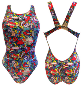 Women Swim Suit - Wide Straps - Liberty Tatoo (Blue Sky)