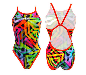 Girls Swim Suit - Revolution Thin Straps - Geoflu (Yellow)
