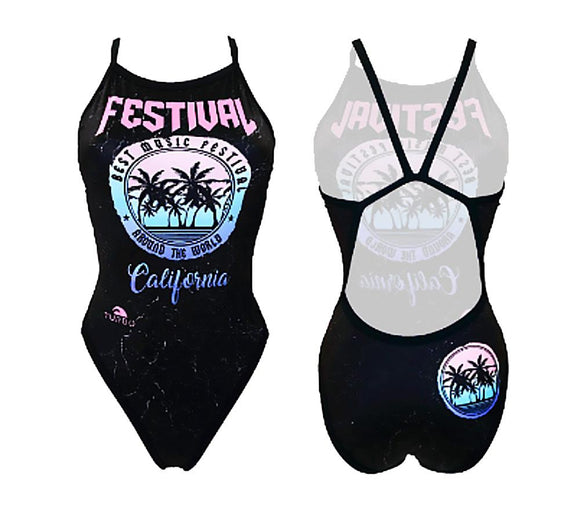 Women Swim Suit - Revolution Thin Straps - Cali Festival (Black)
