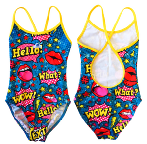 Girls Swim Suit - Happy Kids - Pop Comic (Royal)