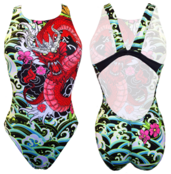Women Swim Suit - Wide Straps - Red Dragon (Black)