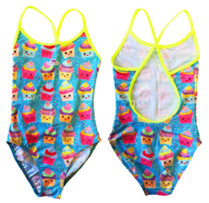 Girls Swim Suit - Happy Kids - Sweet (Blue Sky)