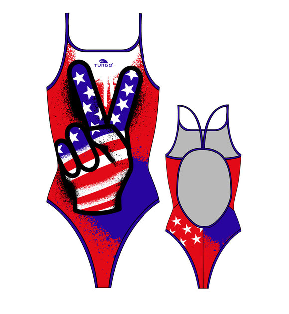 Girls Swim Suit - Thin Straps - Victory (Red & Royal)