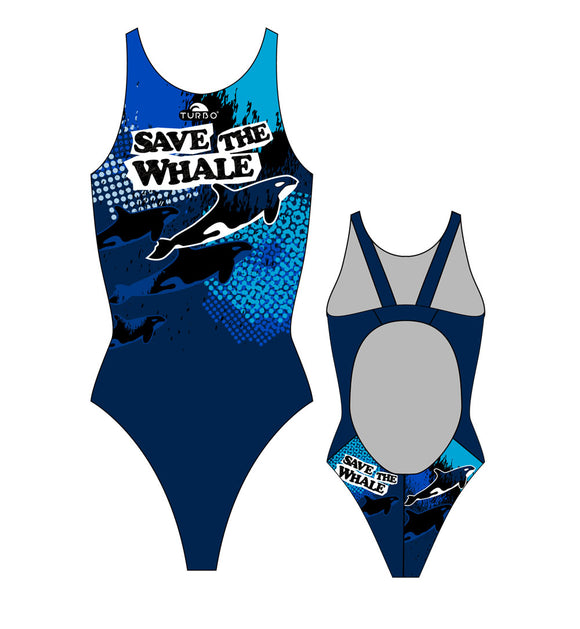 Girls Swim Suit - Wide Straps - Save The Whale (Navy)