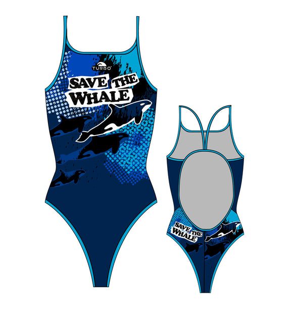 Girls Swim Suit - Thin Straps - Save The Whale (Navy)