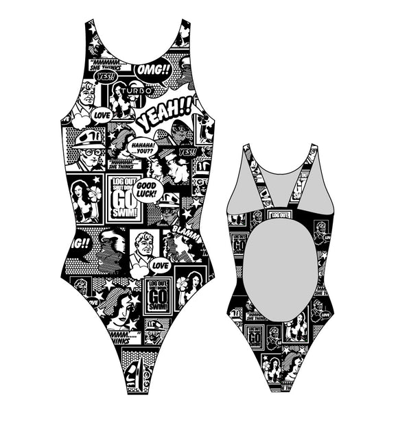 Girls Swim Suit - Thick Straps - Yeah Comic (White & Black)