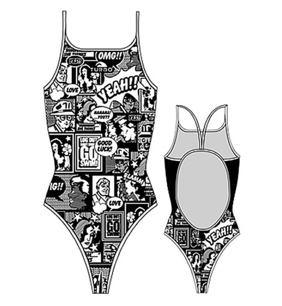 Girls Swim Suit - Thin Straps - Yeah! Comic (White & Black)