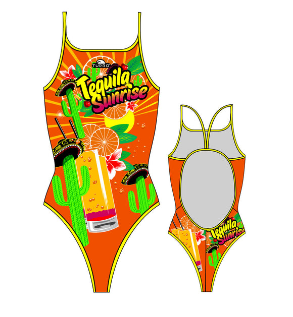 Girls Swim Suit - Thin Straps - Tequila Sunrise (Orange)