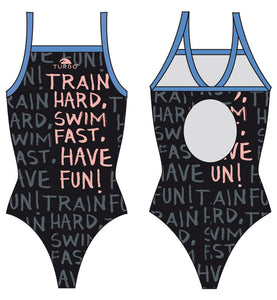 Women Swim Suit - Relax Thin Straps - Train Hard (Black)