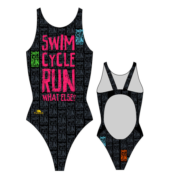 Women Swim Suit - Wide Straps - Swim Cycle Run (Black)