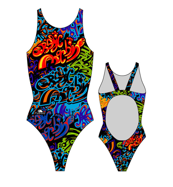 Girls Swim Suit - Wide Straps - Graphic Machine (Print)