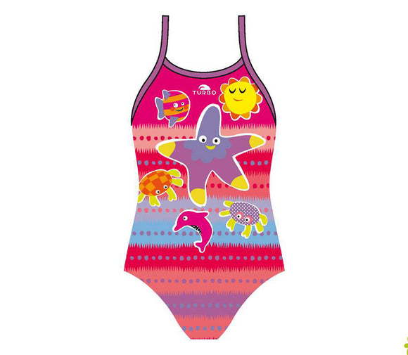 Girls Swim Suit - Happy Kids - Sea Friends (Print)