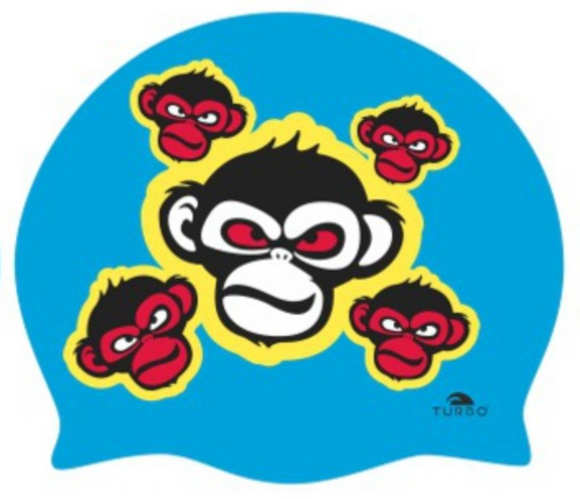 Swimming Cap - Suede Silicone Adult - Happy Monkey (Royal)