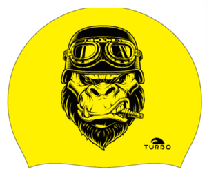 Swimming Cap - Suede Silicone Adult - Ride Gorilla (Yellow)