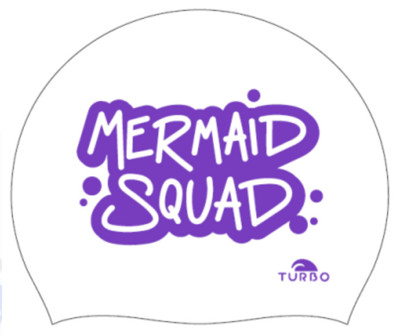 Swimming Cap - Suede Silicone Adult - Mermaid Squad (White)