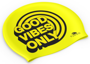 Swimming Cap - Suede Silicone Adult - Good Vibes (Yellow)