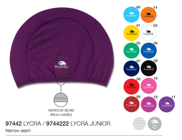 Swimming Cap - Lycra Junior (Kids) -  Plain (Multiple Colours)