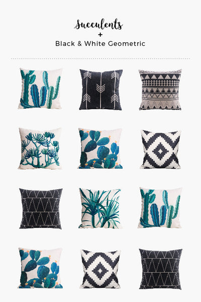 Cemavi Succulents and Black and White Geometric Throw Pillows