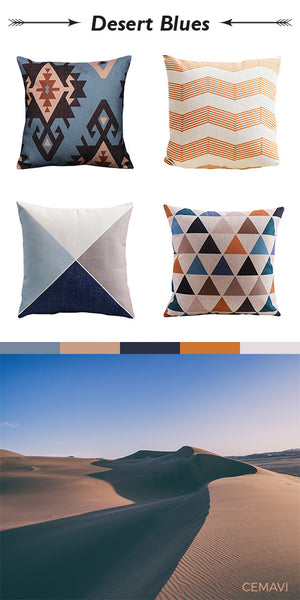 Cemavi Blue and Orange tribal geometric cushion covers