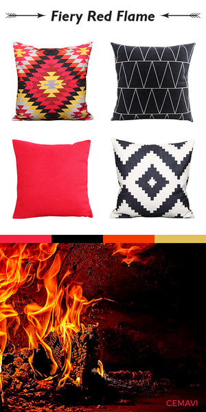 Cemavi chevron red and black cushion covers