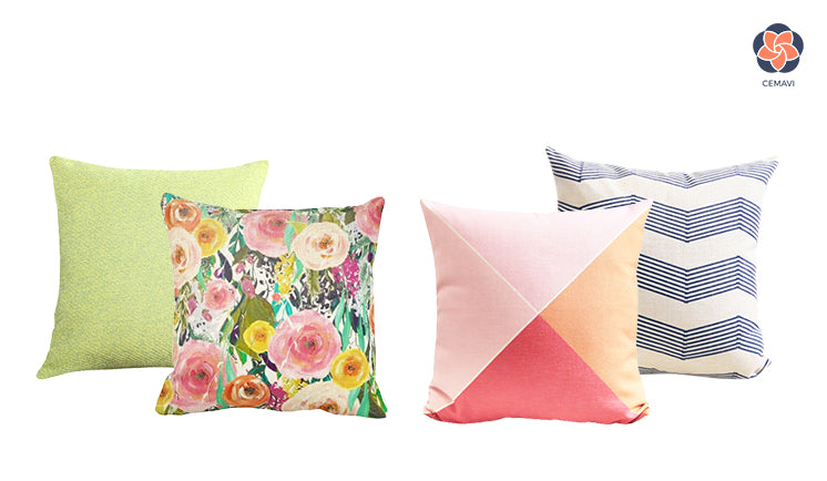 Cemavi floral solid geometric cushion cover