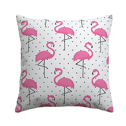 Funky Flamingo White Cushion Cover