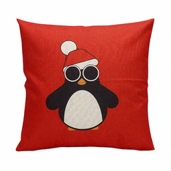 Christmas Penguin Red Cushion Cover