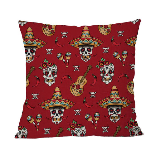 Dia de Muertos Red Cushion Cover