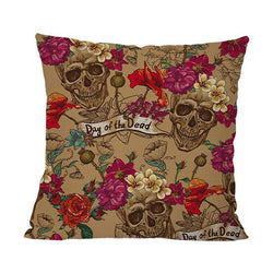 Halloween Skull Rose Cushion Cover