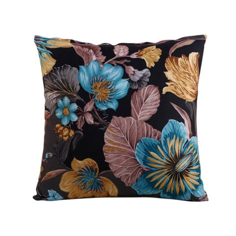 Flowers Black Cushion Cover