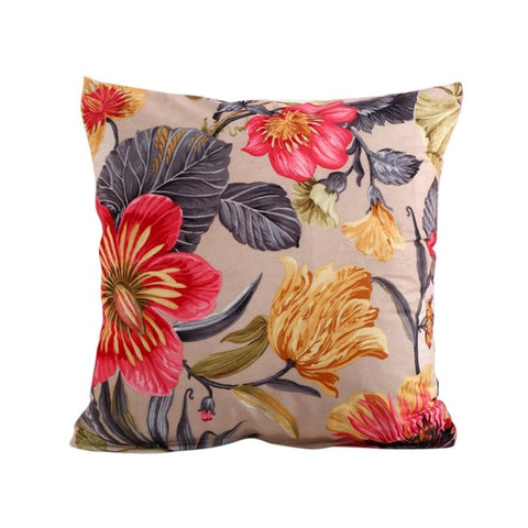 Flowers Beige Cushion Cover