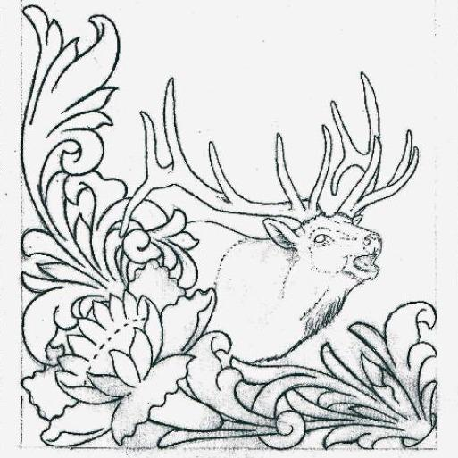 Free Leathercraft Pattern for Figure Carving the Rocky Mountain Elk Pattern