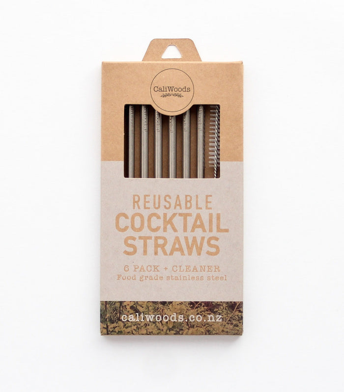 Reusable Cocktail Straws (6 pack with cleaning brush)