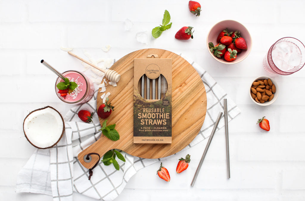 Reusable Smoothie Straws (4 pack with cleaning brush)