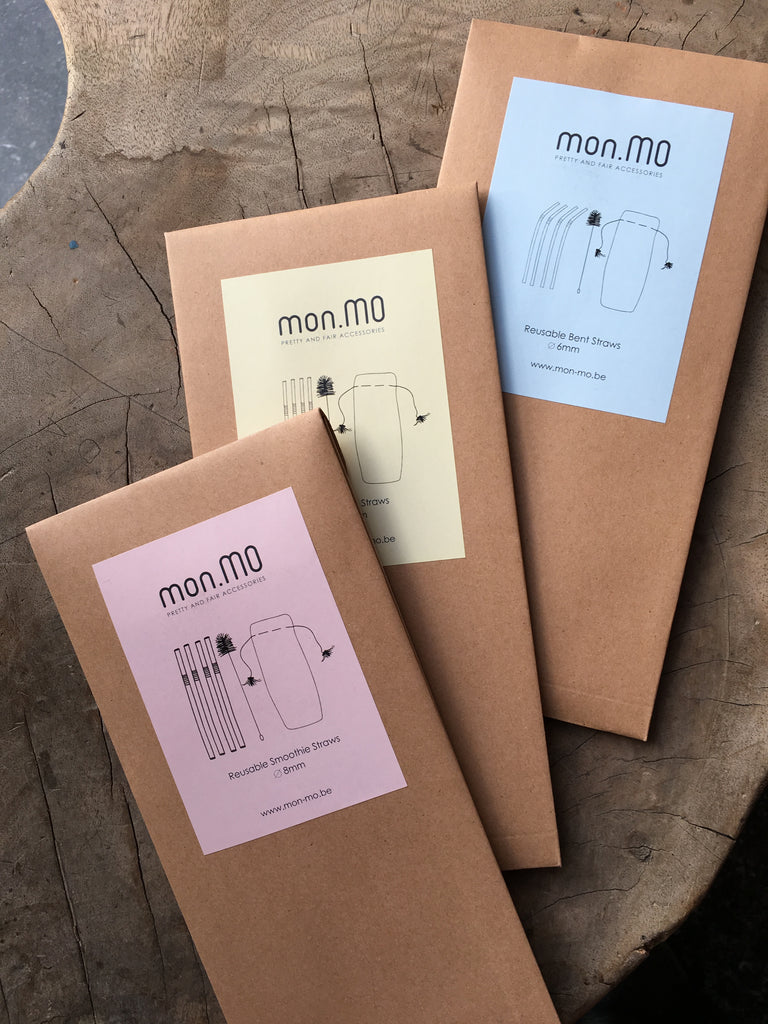 mon.MO's Reusable Straws - 4 pack with brush and pouch