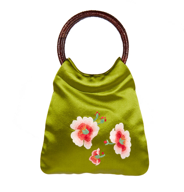 Handbag with Round Handle - Embroidered Silk