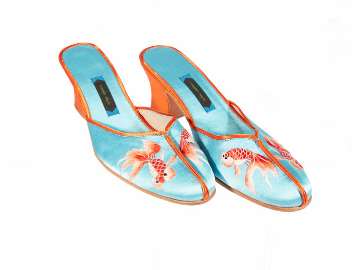 Pond Heel Shoes - Embroidered Silk