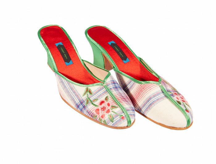Village Heel Shoes - Embroidered Silk