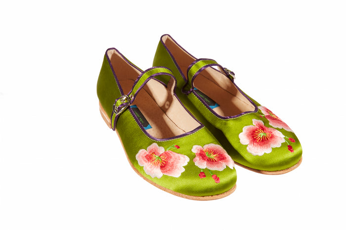 Green Tea Shoes - Embroidered Silk