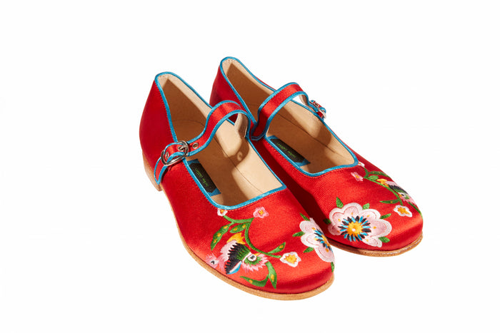Red Strap Shoes - Embroidered Silk
