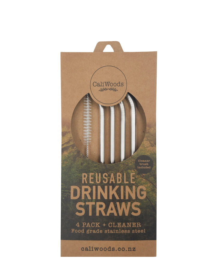 Reusable Drinking Straws (4 pack with cleaning brush)