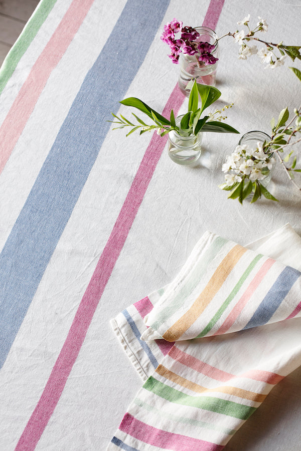 MERU linen towel - white & multi colour - 2 sizes